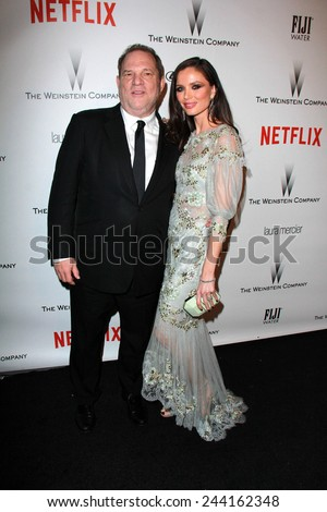LOS ANGELES - JAN 11:  Harvey Weinstein, Georgina Chapman at the The Weinstein Company / Netflix Golden Globes After Party at a Beverly Hilton Adjacent on January 11, 2015 in Beverly Hills, CA - stock photo