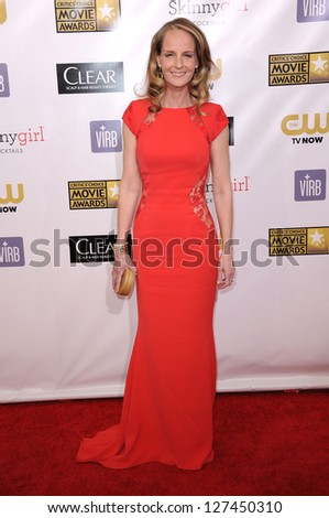 "LOS ANGELES - JAN 10:  Helen Hunt arrives to the ""Critic's Choice Awards 2013  on January 10, 2013 in Santa Monica, CA"