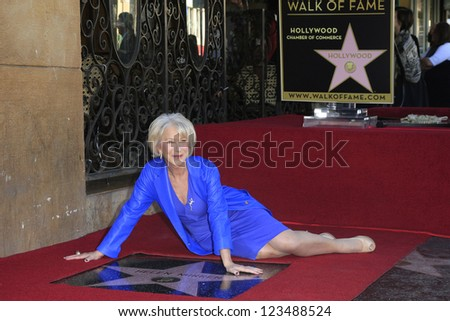 LOS ANGELES - JAN 3: Helen Mirren at a ceremony as Helen Mirren is honored with star on the Hollywood Walk of Fame on January 3, 2013 in Los Angeles, California - stock photo