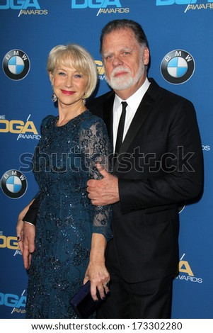 LOS ANGELES - JAN 25:  Helen Mirren, Taylor Hackford at the 66th Annual Directors Guild of America Awards at Century Plaza Hotel on January 25, 2014 in Century City, CA
