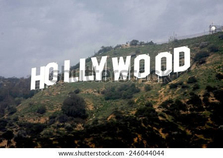 LOS ANGELES - JAN 20:  Hollywood Sign at the AG Awards Actor Visits The Hollywood Sign at a Hollywood Hills on January 20, 2015 in Los Angeles, CA - stock photo
