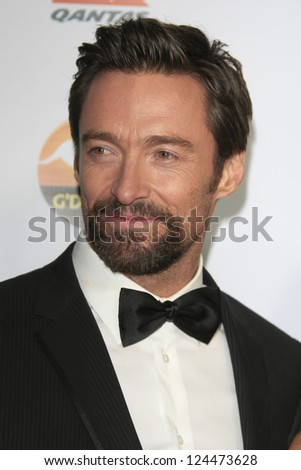 LOS ANGELES - JAN 12:  Hugh Jackman arrives at the 2013 G'Day USA Los Angeles Black Tie Gala at JW Marriott on January 12, 2013 in Los Angeles, CA.. - stock photo