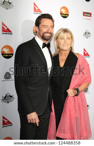 LOS ANGELES - JAN 12: Hugh Jackman, Deborra-Lee Furness at the 2013 G'Day USA Los Angeles Black Tie Gala at JW Marriott on January 12, 2013 in Los Angeles, California - stock photo