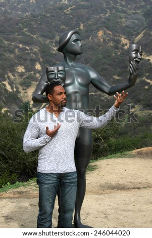 LOS ANGELES - JAN 20:  Jason George, Screen Actor's Guild Actor at the AG Awards Actor Visits The Hollywood Sign at a Hollywood Hills on January 20, 2015 in Los Angeles, CA - stock photo