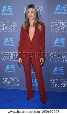 LOS ANGELES - JAN 16:  Jennifer Aniston arrives to the Critics' Choice Awards 2015  on January 16, 2015 in Hollywood, CA                 - stock photo