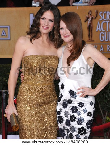 LOS ANGELES - JAN 27:  Jennifer Garner & Julianne Moore arrives to the SAG Awards 2013  on January 27, 2013 in Los Angeles, CA                 - stock photo