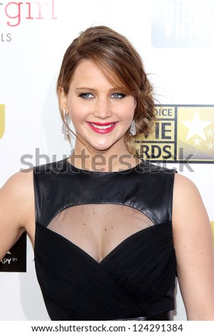 LOS ANGELES - JAN 10:  Jennifer Lawrence arrives at the 18th Annual Critics' Choice Movie Awards at Barker Hanger on January 10, 2013 in Santa Monica, CA - stock photo