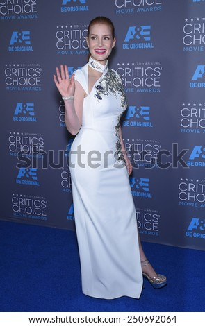 LOS ANGELES - JAN 16:  Jessica Chastain arrives to the Critics' Choice Awards 2015  on January 16, 2015 in Hollywood, CA                 - stock photo