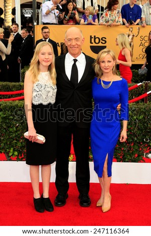 LOS ANGELES - JAN 25:  JK Simmons, wife, daughter at the 2015 Screen Actor Guild Awards at the Shrine Auditorium on January 25, 2015 in Los Angeles, CA - stock photo