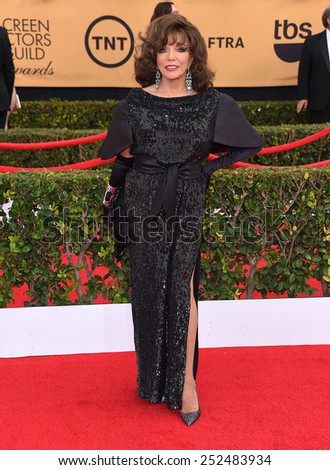 LOS ANGELES - JAN 25:  Joan Collins arrives to the 21st Annual Screen Actors Guild Awards  on January 25, 2015 in Los Angeles, CA                 - stock photo