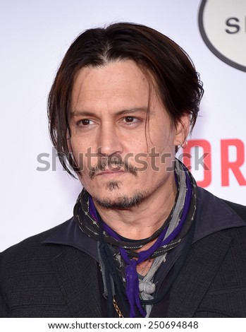 """LOS ANGELES - JAN 21:  Johnny Depp arrives to the """"Mortdecai"""" Los Angeles Premiere  on January 21, 2015 in Hollywood, CA                 - stock photo"""