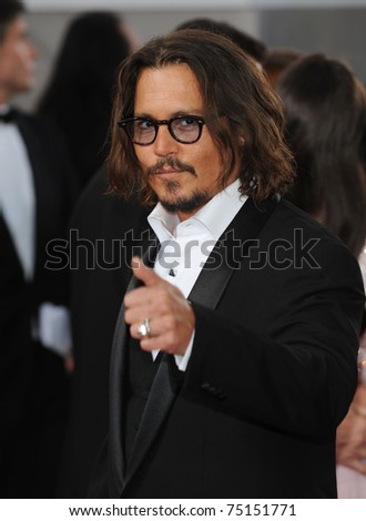 LOS ANGELES - JAN 16:  Johnny Depp arrives to the 68th Annual Golden Globe Awards  on January 16, 2011 in Beverly Hills, CA - stock photo