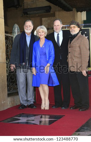 LOS ANGELES - JAN 3: Jon Turtletaub, David Mamet, Helen Mirren, Taylor Hackford at a ceremony as Helen Mirren is honored with star on the Hollywood Walk of Fame on January 3, 2013 in Los Angeles, CA