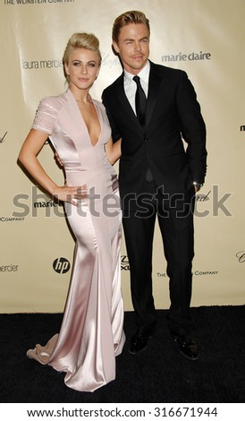 LOS ANGELES - JAN 13 - Julianne Hough and brother Derek Hough arrives at the 2013 Weinstein Company Golden Globes After Party  on January 13, 2013 in Beverly Hills, CA              - stock photo