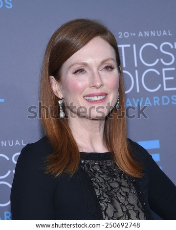 LOS ANGELES - JAN 16:  Julianne Moore arrives to the Critics' Choice Awards 2015  on January 16, 2015 in Hollywood, CA                 - stock photo