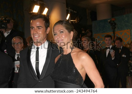 LOS ANGELES - JAN 11:  Justin Theroux, Jennifer Aniston at the HBO Post Golden Globe Party at a Circa 55, Beverly Hilton Hotel on January 11, 2015 in Beverly Hills, CA - stock photo