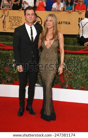 LOS ANGELES - JAN 25:  Justin Theroux, Jennifer Aniston at the 2015 Screen Actor Guild Awards at the Shrine Auditorium on January 25, 2015 in Los Angeles, CA - stock photo