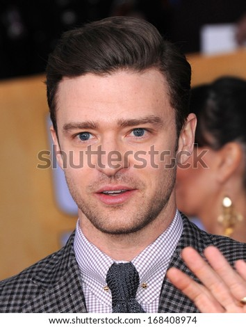 LOS ANGELES - JAN 27:  Justin Timberlake arrives to the SAG Awards 2013  on January 27, 2013 in Los Angeles, CA                 - stock photo