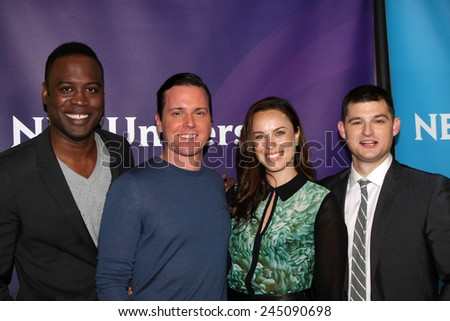 LOS ANGELES - JAN 15:  Kevin Daniels, Kevin Bigley, Jessica McNamee, Michael Mosley at the NBCUniversal Cable TCA Winter 2015 at a The Langham Huntington Hotel on January 15, 2015 in Pasadena, CA - stock photo