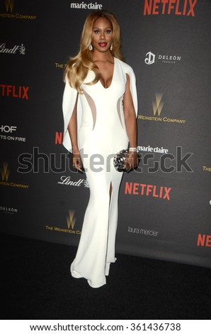 LOS ANGELES - JAN 10:  Laverne Cox at the Weinstein Company & Netflix 2016 Golden Globe After Party at the Beverly Hilton on January 10, 2016 in Beverly Hills, CA - stock photo