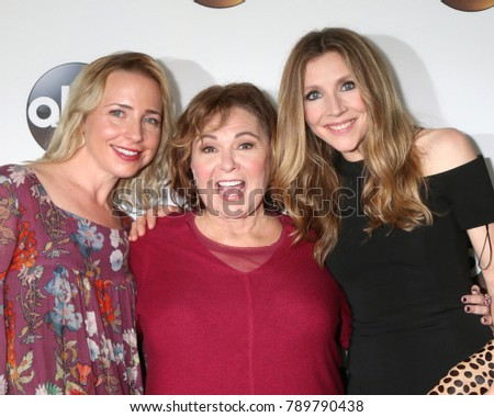 LOS ANGELES - JAN 8:  Lecy Goranson, Roseanne Barr, Sarah Chalke at the ABC TCA Winter 2018 Party at Langham Huntington Hotel on January 8, 2018 in Pasadena, CA