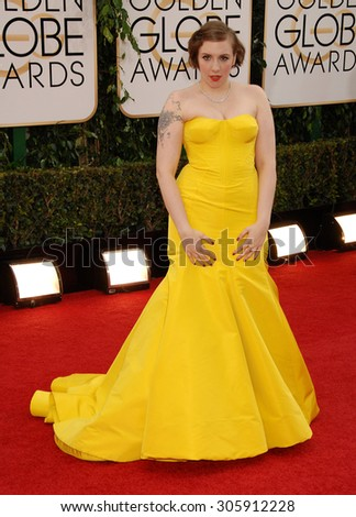 LOS ANGELES - JAN 12:  Lena Dunham arrives to the 2014 Golden Globe Awards  on January 12, 2014 in Beverly Hills, CA                 - stock photo