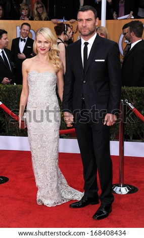 LOS ANGELES - JAN 27:  Liev Schreiber & Naomi Watts arrives to the SAG Awards 2013  on January 27, 2013 in Los Angeles, CA                 - stock photo