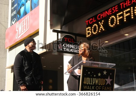 LOS ANGELES - JAN 21:  LL Cool J, Queen Latifah at the LL Cool J Hollywood Walk of Fame Ceremony at the Hollywood and Highland on January 21, 2016 in Los Angeles, CA - stock photo