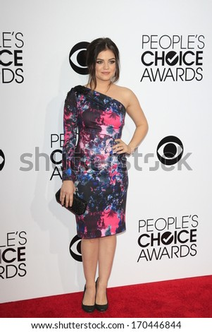 LOS ANGELES - JAN 8:  Lucy Hale at the People's Choice Awards 2014 Arrivals at Nokia Theater at LA LIve on January 8, 2014 in Los Angeles, CA - stock photo