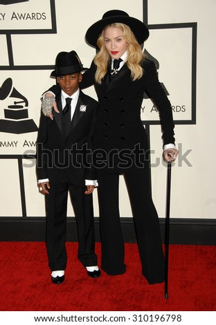 LOS ANGELES - JAN 26:  Madonna and son David arrives at the 56th Annual Grammy Awards Arrivals  on January 26, 2014 in Los Angeles, CA                 - stock photo