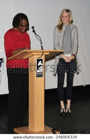 LOS ANGELES - JAN 28: Marcia Thomas, Kait Stuebner at the 30th Anniversary of 'We Are The World' at The GRAMMY Museum on January 28, 2015 in Los Angeles, California - stock photo