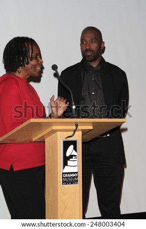 LOS ANGELES - JAN 28: Marcia Thomas, Ntare Guma Mbaho Mwine at the 30th Anniversary of 'We Are The World' at The GRAMMY Museum on January 28, 2015 in Los Angeles, California - stock photo