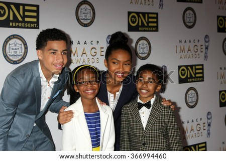 LOS ANGELES - JAN 23:  Marcus Scribner, Marsai Martin, Yara Shahidi, Miles Brown at the 47th NAACP Image Awards Nominees Luncheon at the Beverly Hilton Hotel on January 23, 2016 in Beverly Hills, CA - stock photo