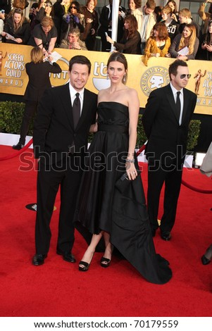 LOS ANGELES - JAN 30:  Mark Wahlberg and Rhea Durham arrives at the 2011 Screen Actors Guild Awards  at Shrine Auditorium on January 30, 2011 in Los Angeles, CA - stock photo