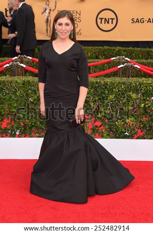 LOS ANGELES - JAN 25:  Mayim Bialik arrives to the 21st Annual Screen Actors Guild Awards  on January 25, 2015 in Los Angeles, CA                 - stock photo
