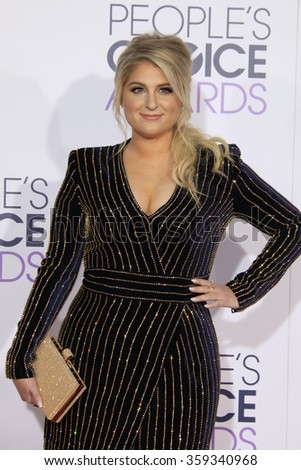 LOS ANGELES - JAN 6:  Meghan Trainor at the Peoples Choice Awards 2016 - Arrivals at the Microsoft Theatre L.A. Live on January 6, 2016 in Los Angeles, CA - stock photo