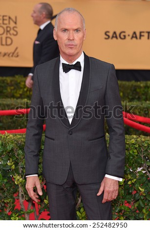 LOS ANGELES - JAN 25:  Michael Keaton arrives to the 21st Annual Screen Actors Guild Awards  on January 25, 2015 in Los Angeles, CA                 - stock photo