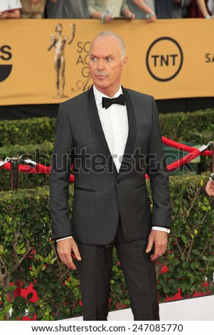 LOS ANGELES - JAN 25:  Michael Keaton at the 2015 Screen Actor Guild Awards at the Shrine Auditorium on January 25, 2015 in Los Angeles, CA - stock photo