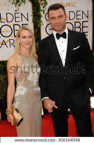 LOS ANGELES - JAN 12:  Naomi Watts and Liev Schreiber arrives to the 2014 Golden Globe Awards  on January 12, 2014 in Beverly Hills, CA                 - stock photo