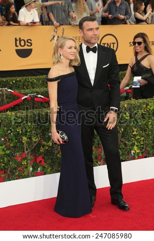 LOS ANGELES - JAN 25:  Naomi Watts, Liev Schreiber at the 2015 Screen Actor Guild Awards at the Shrine Auditorium on January 25, 2015 in Los Angeles, CA - stock photo