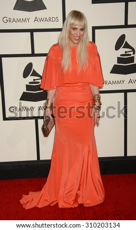 LOS ANGELES - JAN 26:  Natasha Bedingfield arrives at the 56th Annual Grammy Awards Arrivals  on January 26, 2014 in Los Angeles, CA                 - stock photo