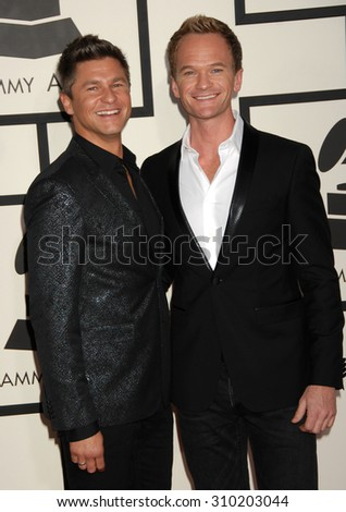 LOS ANGELES - JAN 26:  Neil Patrick Harris and David Burtka arrives at the 56th Annual Grammy Awards Arrivals  on January 26, 2014 in Los Angeles, CA                 - stock photo