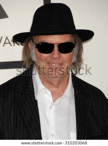 LOS ANGELES - JAN 26:  Neil Young arrives at the 56th Annual Grammy Awards Arrivals  on January 26, 2014 in Los Angeles, CA                 - stock photo