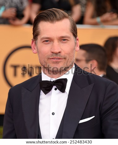 LOS ANGELES - JAN 25:  Nikolaj Coster-Waldau arrives to the 21st Annual Screen Actors Guild Awards  on January 25, 2015 in Los Angeles, CA                 - stock photo