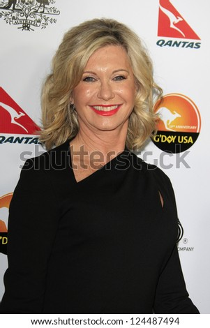 LOS ANGELES - JAN 12: Olivia Newton-John at the 2013 G'Day USA Los Angeles Black Tie Gala at JW Marriott on January 12, 2013 in Los Angeles, California - stock photo
