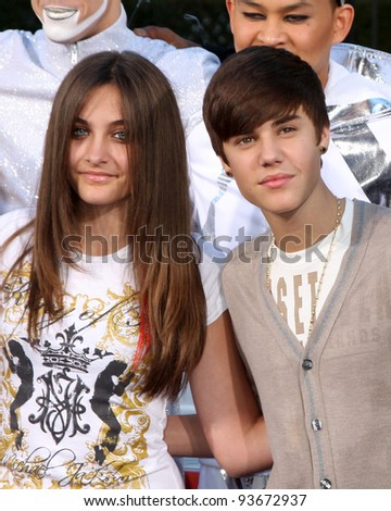 LOS ANGELES - JAN 26:  Paris Jackson,  Justin Bieber at the Michael Jackson Immortalized  Handprint and Footprint Ceremony at Graumans Chinese Theater on January 26, 2012 in Los Angeles, CA - stock photo
