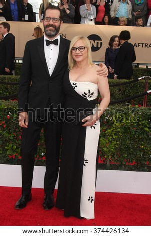 LOS ANGELES - JAN 30:  Patricia Arquette, Eric White at the 22nd Screen Actors Guild Awards at the Shrine Auditorium on January 30, 2016 in Los Angeles, CA - stock photo