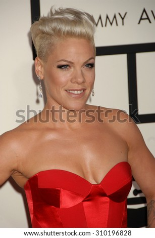 LOS ANGELES - JAN 26:  Pink arrives at the 56th Annual Grammy Awards Arrivals  on January 26, 2014 in Los Angeles, CA                 - stock photo