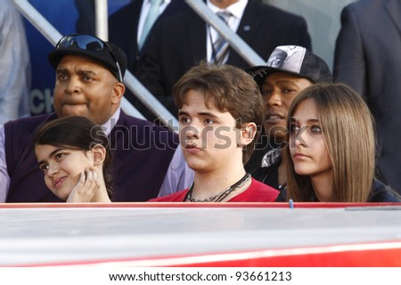 LOS ANGELES - JAN 26: Prince Jackson, Blanket Jackson, Paris Jackson at the hand + footprint ceremony honoring Michael Jackson at Grauman's Chinese Theater on January 26, 2012 in Los Angeles, CA - stock photo