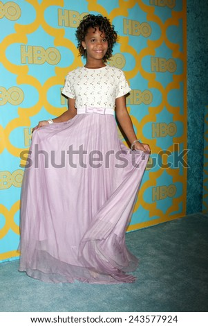 LOS ANGELES - JAN 11:  Quvenzhane Wallis at the HBO Post Golden Globe Party at a Circa 55, Beverly Hilton Hotel on January 11, 2015 in Beverly Hills, CA - stock photo